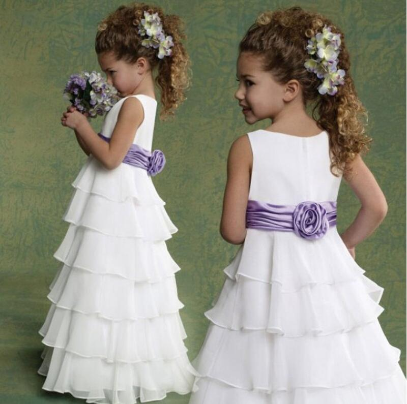 Summer chiffon ruffles cupcake princess flower girl dress boho for beach wedding with purple sash little bridesmaid long gown цена