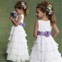 Summer chiffon ruffles cupcake princess flower girl dress boho for beach wedding with purple sash little bridesmaid long gown