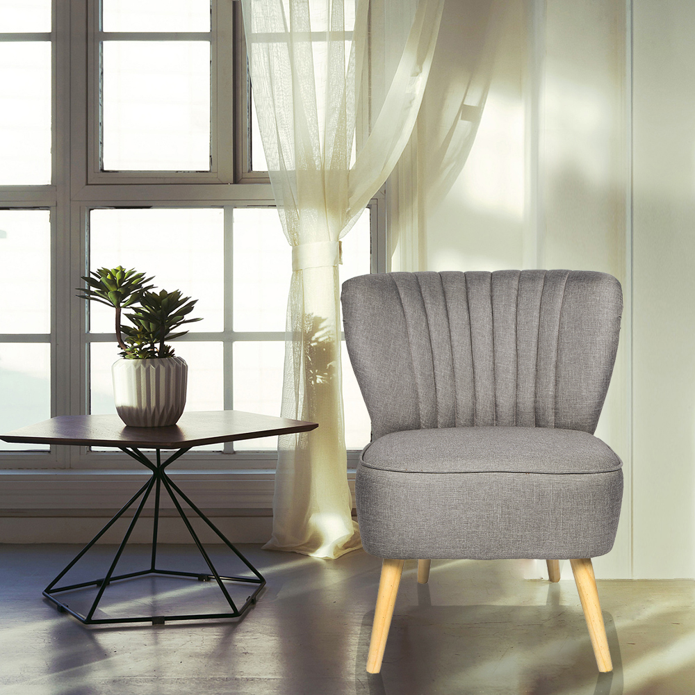 Grey Oyster Occasional Accent Chair With Natural Legs Fluted Back Living Room Chair Dropshipping