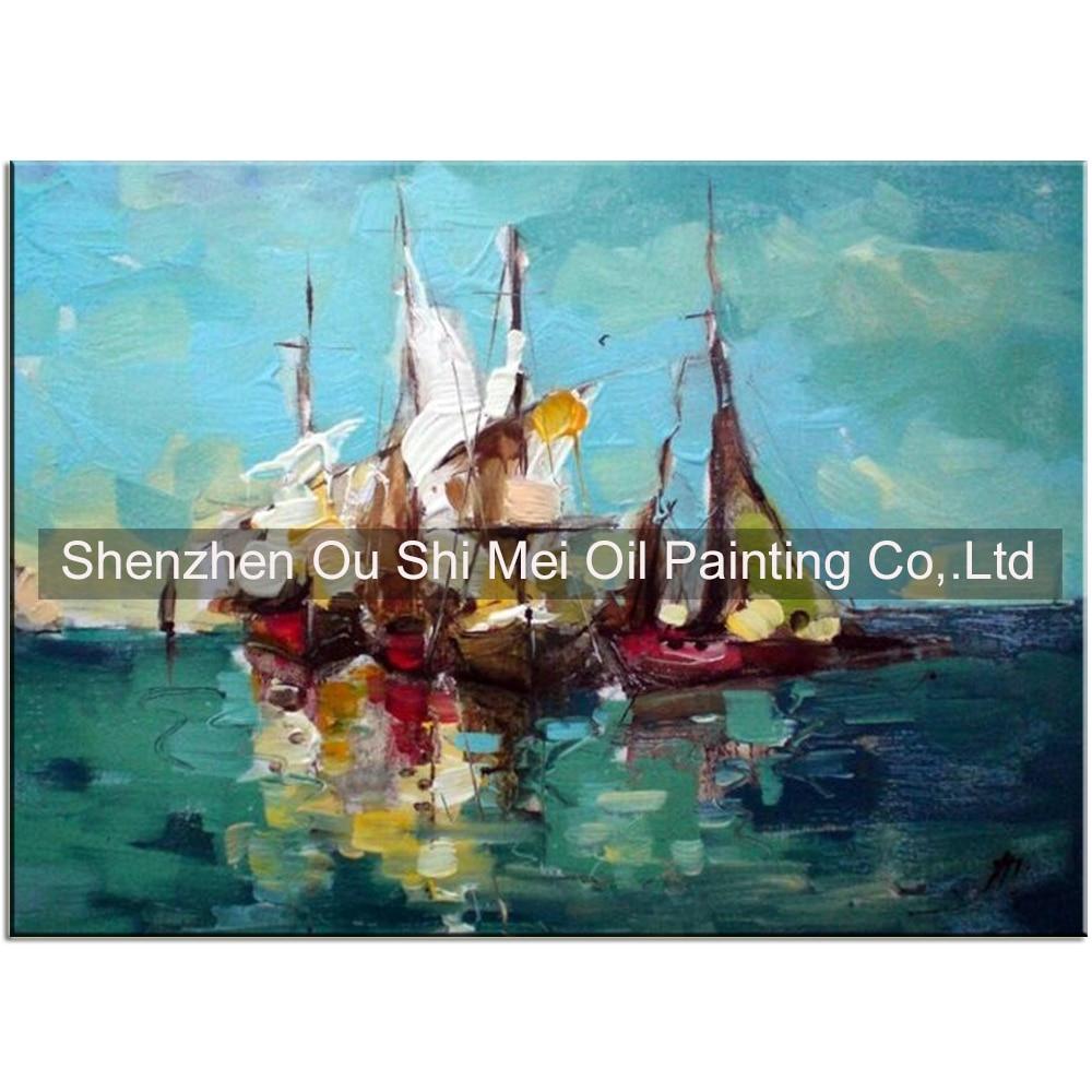 Ručně malovaný nůž na lodi Olejomalba na plátně Přímořská krajina Malba dojem Modré moře Obrázek kresby pro výzdobu obývacího pokoje
