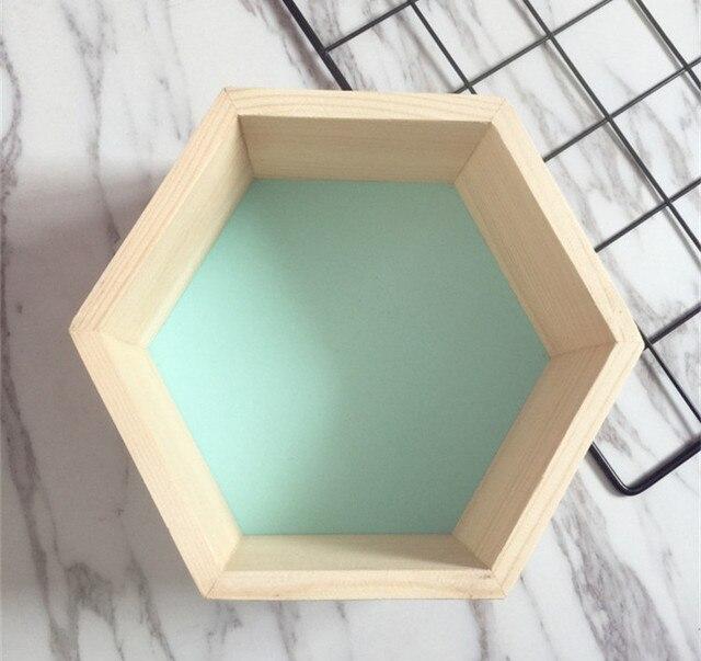 INS New Kids Baby Nordic Style Wooden Hexagon Storage Shelf Decorative For Kids Room Chamber Shelf Bookshelf Design