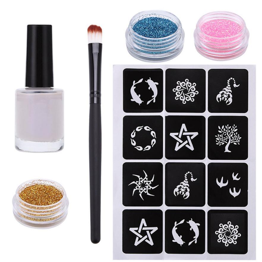1 Set Glitter Tattoo Kit Professional Powder Temporary Tattoo Body Painting Kit Brushes Glue Stencils Tattoo Kits
