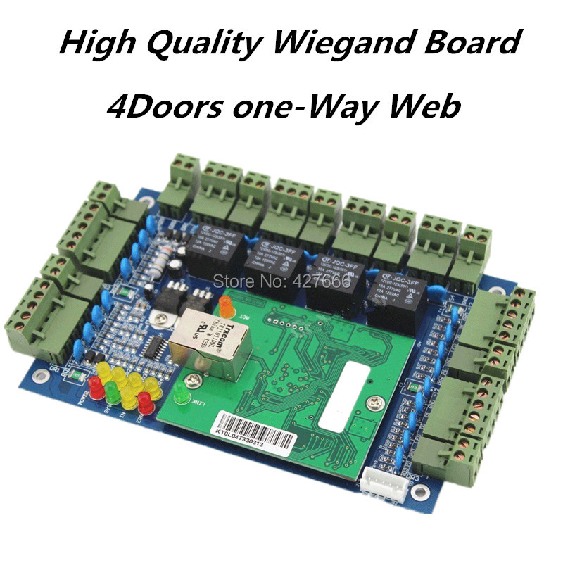Wiegand Access Control System TCP/IP Web Function 4 Doors One Way Access Control Board Access Control Panel With Free Software zk c3 100 tcp ip access control board intelligent one door two way door access control panel with free software