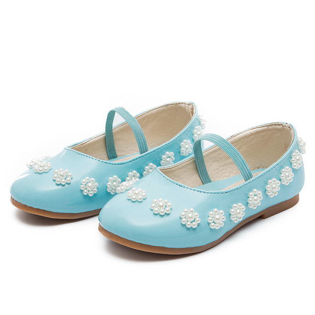 2016 new children shoes girls shoes fashion pearl princess shoes with elastic band beautiful pu leather girls flats kids shoes