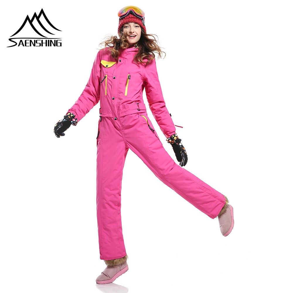 Prix pour Saenshing nouvelle neige d'hiver ski costumes femmes d'une seule pièce de ski salopette respirant snowboard veste ski pantalon définit les combinaisons La Russie