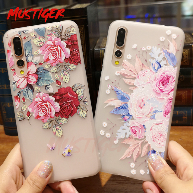MUSTIGER 3D Relief Flower TPU Case For Huawei P20 Lite P10 P9 Cover For Honor 8 9 10 Lite Ultra-thin Silicone Case For P20 Pro
