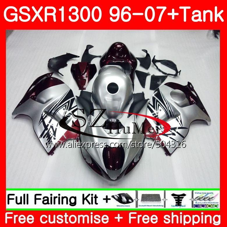 Carénage Pour SUZUKI Hayabusa GSXR1300 96 07 GSXR 1300 02 03 04 05 06 07 rouge Foncé nouveau 42SH24 GSX R1300 2002 2003 2004 2005 2007