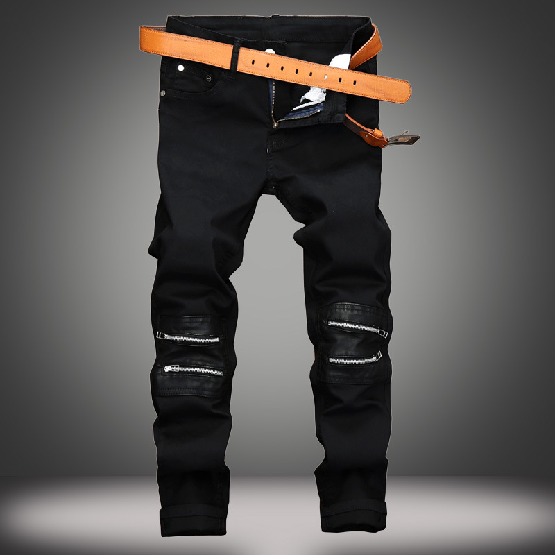 EVJSUSE knee zipper decoration casual jeans male paste leather Slim straight nightclub b ...