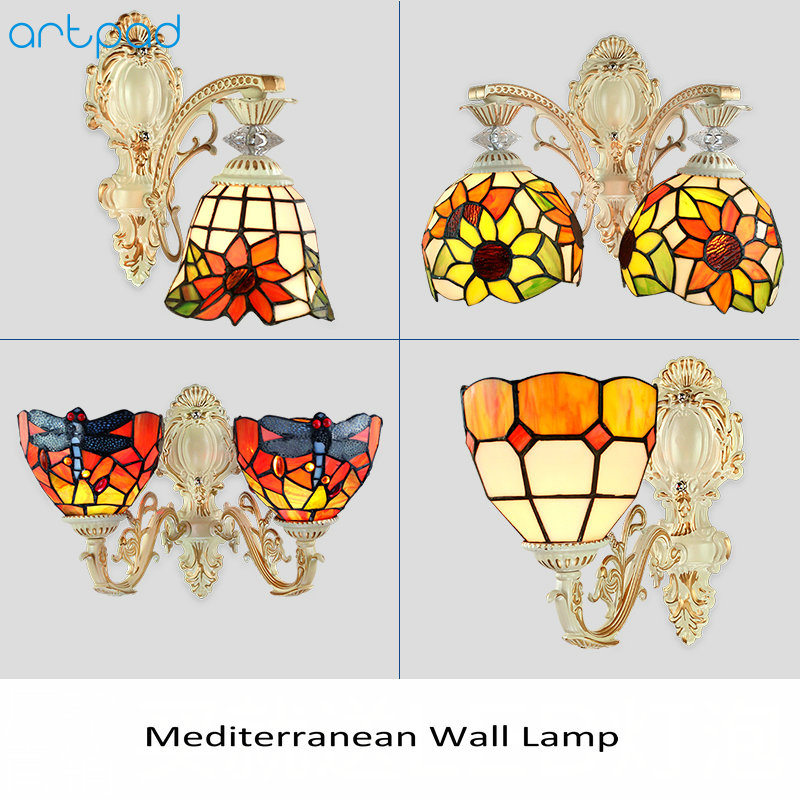 Artpad Mediterranean European Modern Wall Light Mosaic Stained Glass Sconce Double Wall Lamp Bedroom Living Room