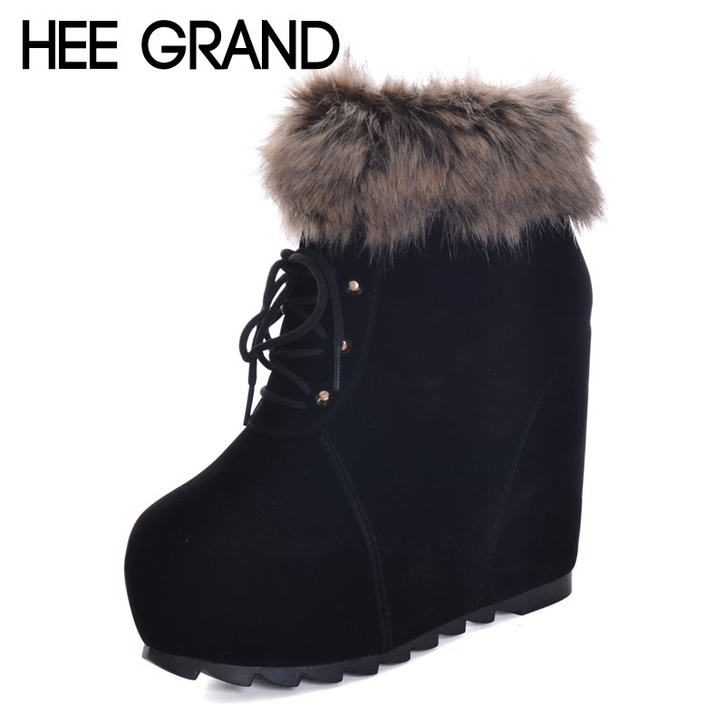 HEE GRAND Height Increasing Women Plush Round Toe Shoes Winter Women Warm Ankle Boots Ladies Fashion