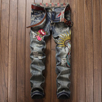 Men's Flower Cobra Design Patches Embroidered Jeans Men Casual Snake Pattern Hole Straight Fit Retro Denim Vintage Ripped Jeans