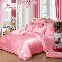 SlowDream Bedding Set Luxury Silk Bed Linen Cotton Pink Euro Style Bedspread Double Queen King Duvet Cover Bedclothes