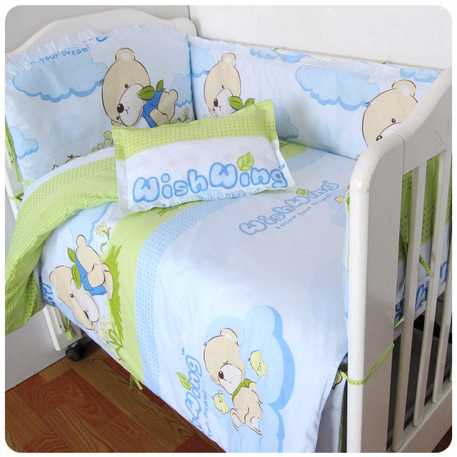 5 PCS Newborn Baby Room bedding set Cartoon crib bedding set 100% cotton Infant bedclothes include pillow bumpers mattress