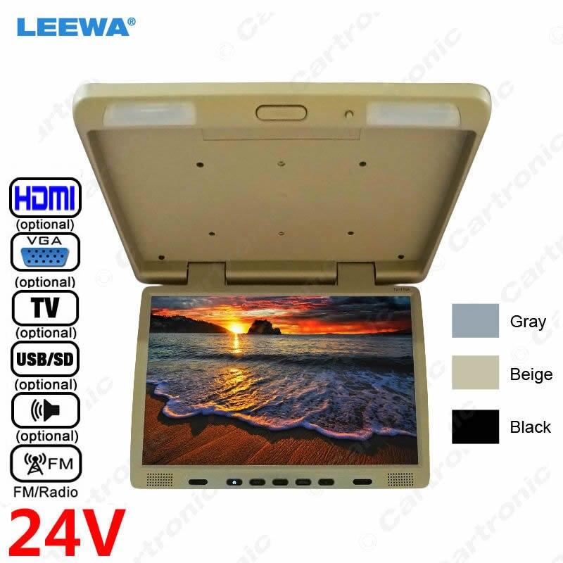 LEEWA 24 V Camion Bus 17 pouces TFT LCD Toit Moniteur Monté Flip Down Moniteur Pour Voiture Lecteur DVD TV USB SD FM Haut-Parleur VGA HDMI