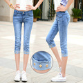 The 2016 Summer Denim Pants Seven Female Student Waist Stretch Slim Cuffed Jeans