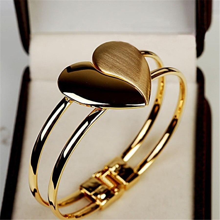 Topkeeping Frauen Mode Schmuck Matt Glänzend doppelseitige Herz Offener Typ Armreif Gold Farbe Reif Mädchen Chic Armband