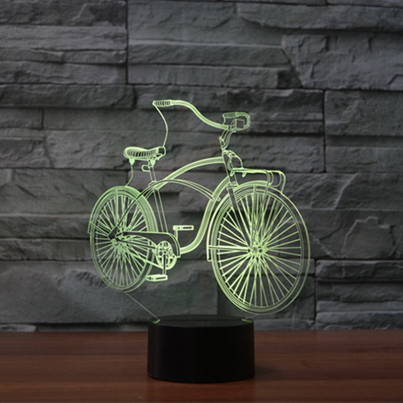 AUCD LED Bicycle 3D visual Night Light USB Touch Swtich 2017 Valentine Gift Birthday Holiday Wedding Bedroom Ambient lights-335