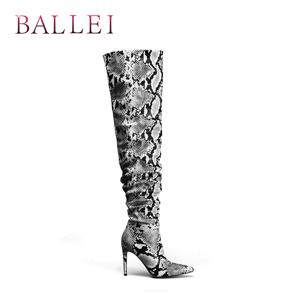 Ballei Fold Mince Pu Chaussures Bout D'hiver H21 Mode genou Motif Over Décoratif Boot Classique Talon Snake Qualité the Pointu ZvZ0rAwq