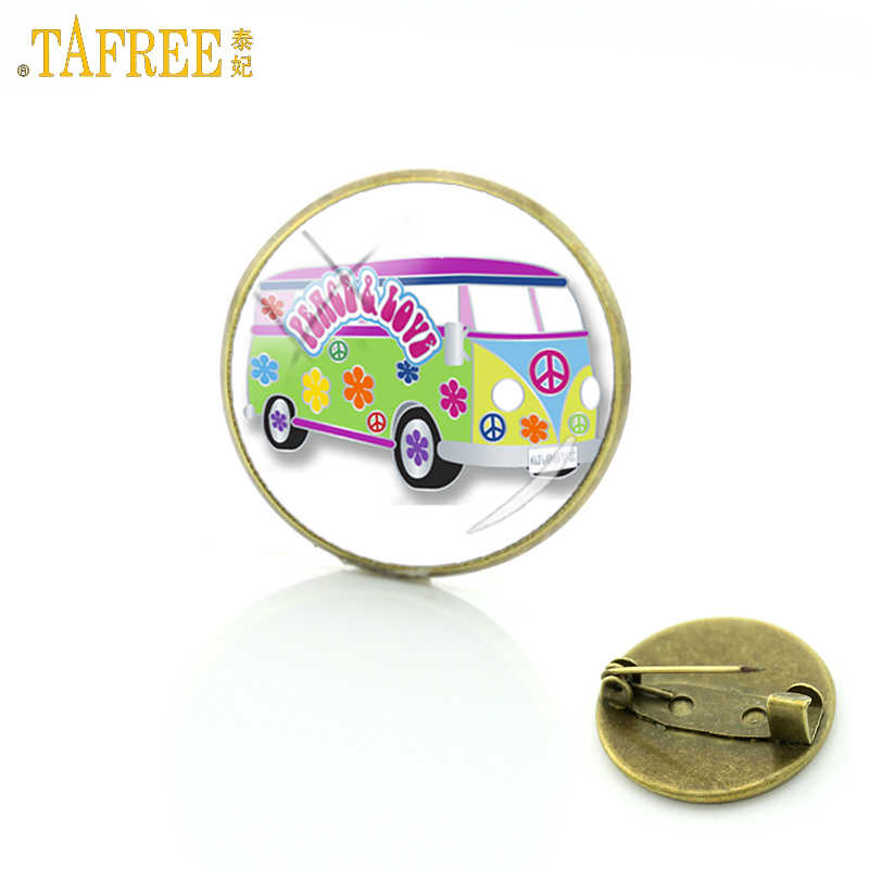 TAFREE vintage men women old London red double decker bus badge brooch pins jewelry peace and love charms brooches gifts H192