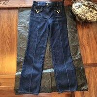 Широкие брюки джинсы женские осенние 2019 модные длинные джинсы высокого качества свободные брюки для женщин