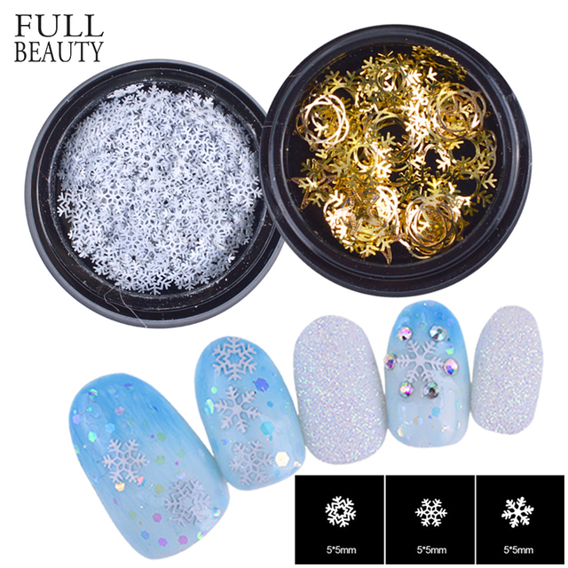 Full Beauty Nail Art Decorations 3D Thin Metal Slice Sequins Glitter Snowflakes DIY New Year Paillettes Nails Accessory CH526