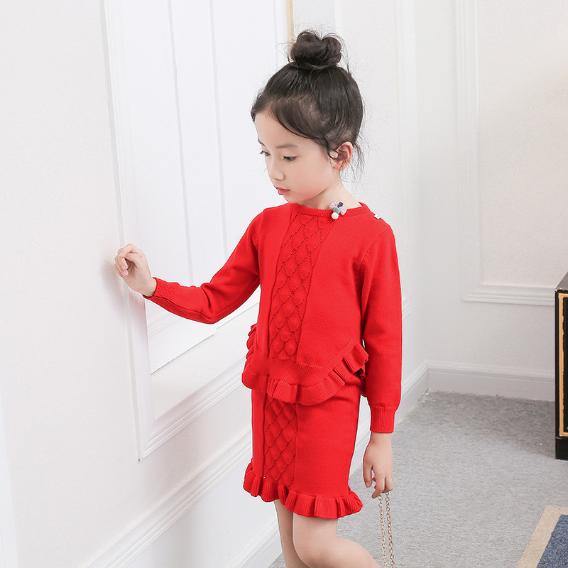 SOKOBX Girls Sets Cute Embroidery Girl tops+dress Infant Knitted Long Sleeve Toddler Winter Autumn Kids Children Clothes Sets fashion brand autumn children girl clothes toddler girl clothing sets cute cat long sleeve tshirt and overalls kid girl clothes