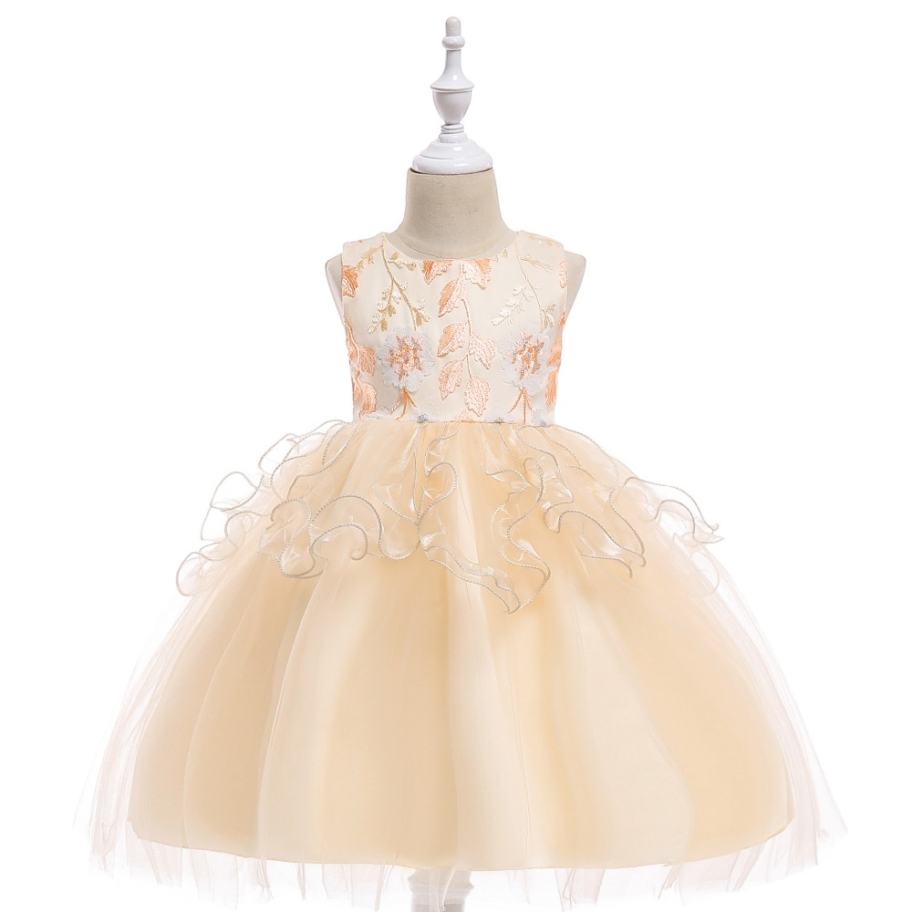 2018 Cheap White   Flower     Girl     Dresses   for Weddings Lace   Girls   Pageant   Dresses   First Communion   Dress   Little   Girls   Prom Ball Gown