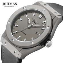 RUIMAS Reloj Mecánico Militar para hombre, reloj Masculino analógico con fecha, deportivo, reloj de pulsera con Correa de cuero