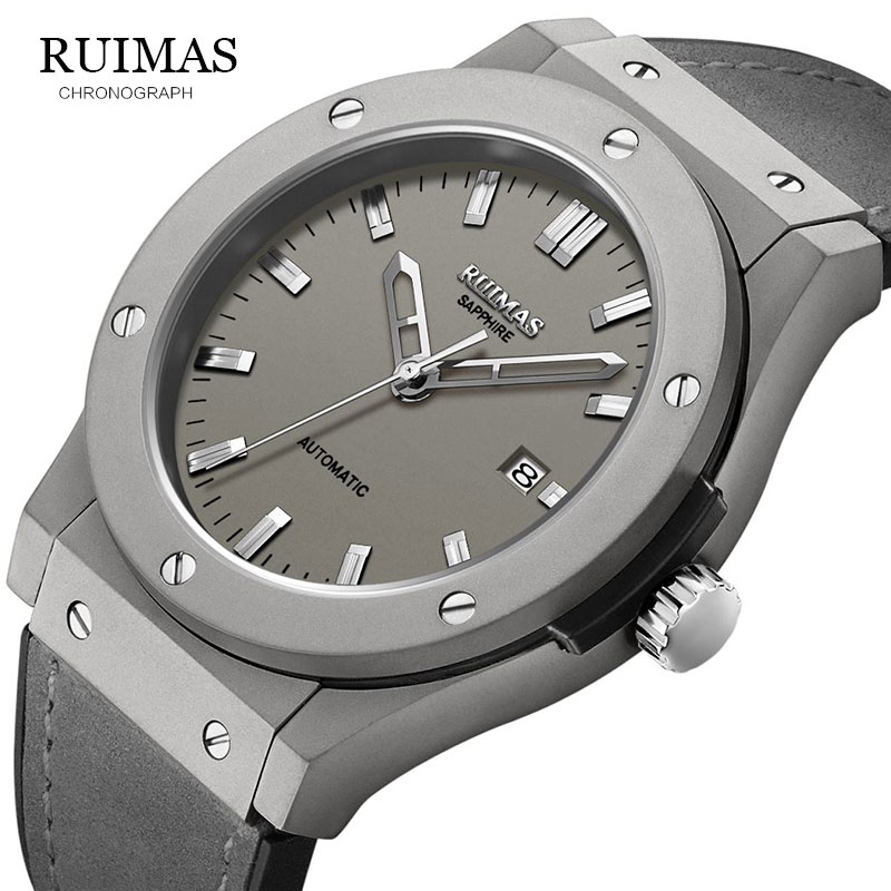 RUIMAS Top Luxury Brand Men Sports Military  Mechanical Watch Man Analog Date Clock Leather Strap Wristwatch Relogio Masculino-in Sports Watches from Watches