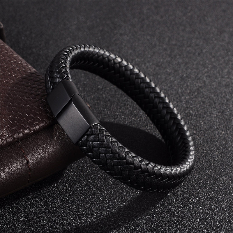 Jiayiqi Punk Men Jewelry Black/Brown Braided Leather Bracelet Stainless Steel Magnetic Clasp Fashion Bangles 18.5/22/20.5cm jiayiqi fashion multilayer genuine leather bracelet for men jewelry stainless steel bangle punk braid black brown chain magnetic