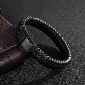 Jiayiqi Men Jewelry Leather Bracelet Stainless Steel
