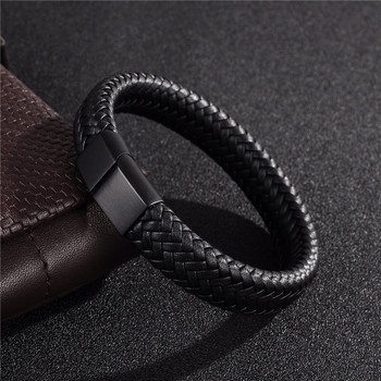 Men jewelry black/brown braided leather bracelet stainless steel magnetic clasp