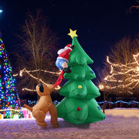 180cm Giant inflatable Christmas tree Puppy bites Santa Claus climbing tree Christmas Gift Halloween Party Decoration Mariage