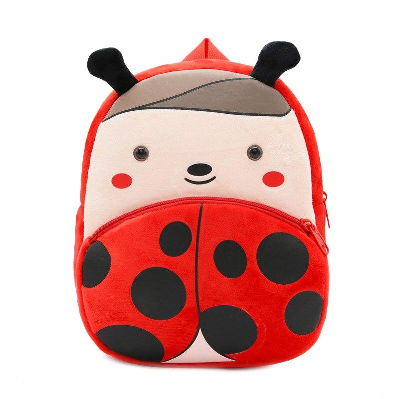 Kawaii Baby Girls Backpack Cute Cartoon Animal Red Ladybird 3D Print Kindergarten Toddler Plush Schoolbag Gifts Kids School Bags