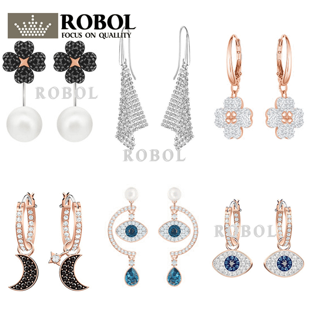 ROBOL 925 silver High Quality Swa Original earrings Jewelry Making For Women Wholesale Brand 1:1 Production Gifts For Women collectible washable full body vinyl silicone reborn toddler princess girl baby alive doll toys for children birthday gift dolls