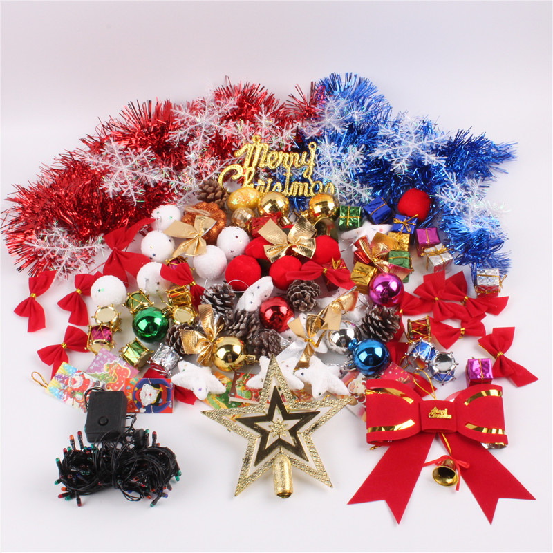 christmas decorations kits christmas tree decorations christmas ball five pointed stars red bowknot decor set - Christmas Tree Decoration Kits