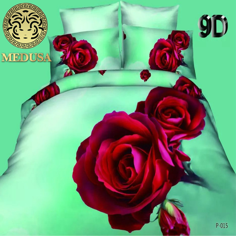 Medusa romantic red rose 3d bedding set queen size duvet doona cover bed sheet pillow cases