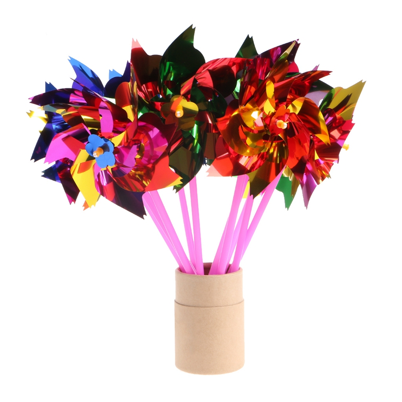 10Pcs Plastic Windmill Pinwheel Wind Spinner Kids Toy Garden Lawn Party Decor BC1012