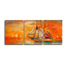 Laeacco 3 Panel Wall Artwork Sea Sailboat Posters and Prints Modern Abstract Home Living Room Decor Paintings Pictures