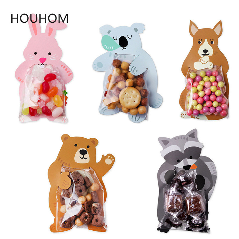 10pcs/lot Cute Animal Bear Cake Candy Dragee Bags Cookie Bags Gift Bags Greeting Cards Wedding Birthday Party Cardboard Box