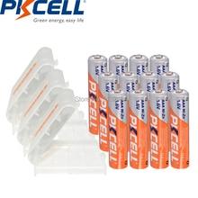 12 batterie PKCELL 1.6V AAA 900mWh 3A NIZN, batterie ricaricabili aaa, batterie AAA, batteria AAA e scatola porta batterie 3 pezzi