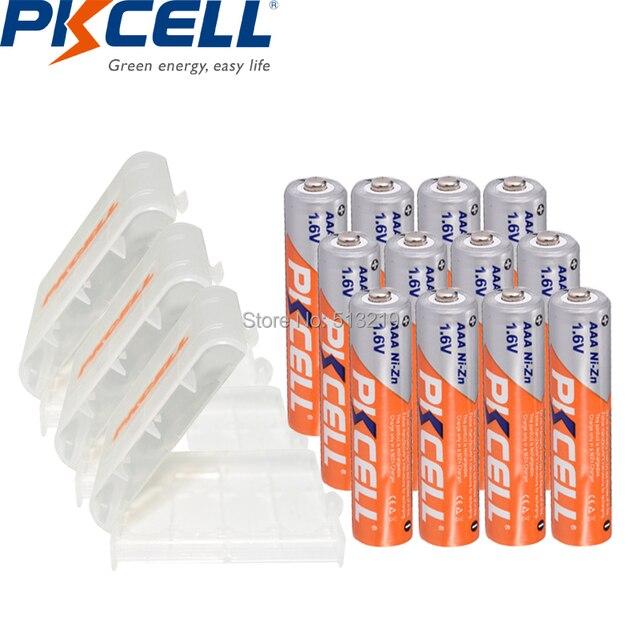 12PCS PKCELL 1.6V battery AAA 900mWh 3A NIZN Rechargeable Batteries aaa NI ZN AAA batteries and 3PCS battery Holder box