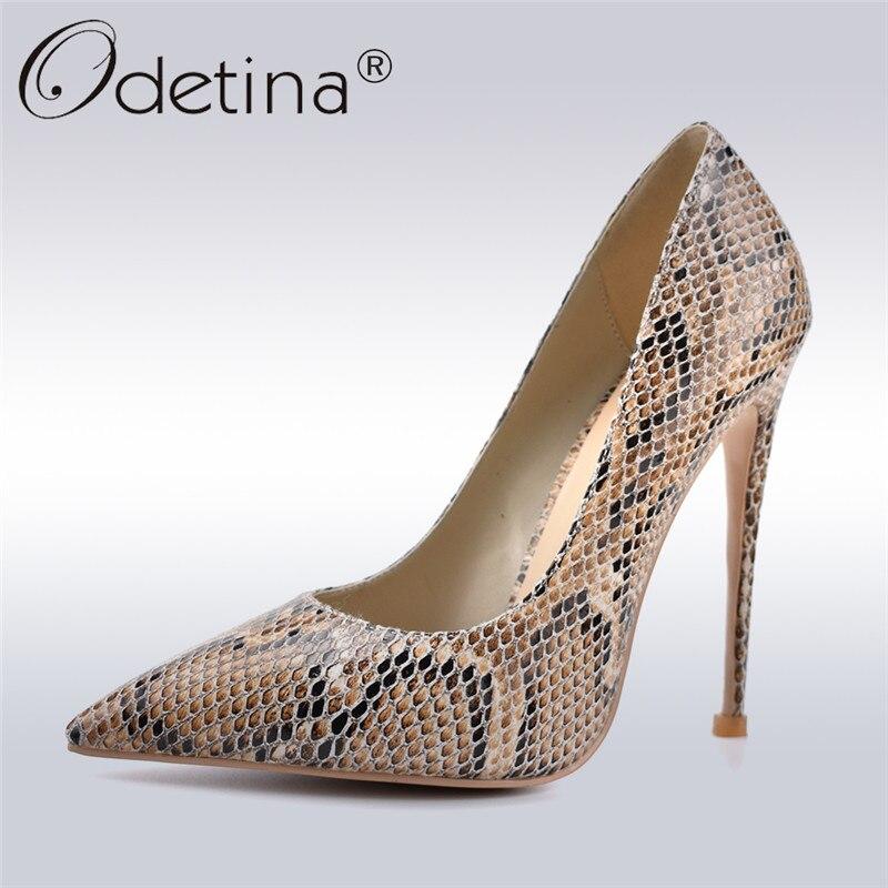 """Odetina חדש אופנה נחש סופר גבוהה עקבים 12 ס""""מ נעלי עקב מודפס הבוהן סקסי מועדון ערב מסיבת נעלי נשים משאבות גדול גודל גודל 42"""