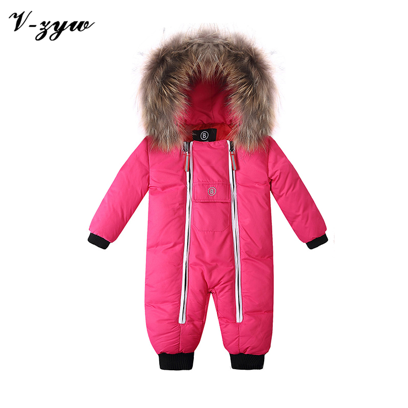 Winter Baby Romper Real Hair Zipper 2016 Russia-30 Brand Rompers Baby Snowsuit Clothes Warm Jumpsuit Children's Winter Coveralls