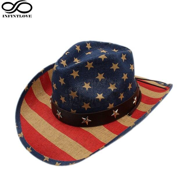 LUCKYLIANJI Unisex Vintage Stars Leather Band American Flag Cowboy Western Straw  Hat Adjust Chin Strap Hemming 66ba5faae0fd