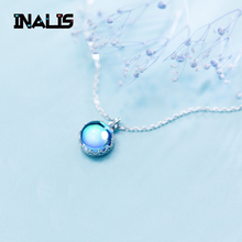 INALIS Hot Sell Unique 925 Sterling Silver Fine Jewelry Round Blue Crystal Pendant Necklace Delicate Girl Birthday Gift Collar