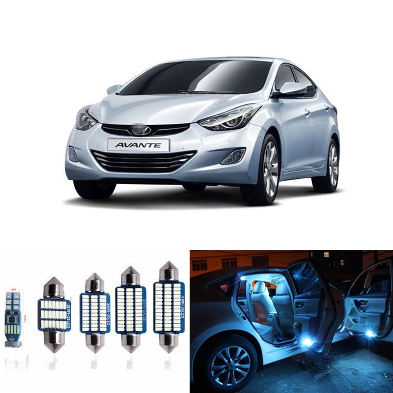 9pcs Car LED Light Bulbs Interior Package Kit For 2011-2015 Hyundai Elantra Map Dome Trunk License Plate Lamp White ice blue 2014 new 2pcs 42mm festoon c10w plasma cob smd led canbus sv8 5 dome map trunk lights bulbs free shipping