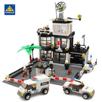 KAZI 631Pcs City Police Station Building Bricks Prison Van Building Blocks Sets Creative Handmade Toys Educational