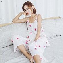 Summer New Ladies Pajamas Set Cotton Comfort Sleepwear Sweet Strawberry Printed Halter top+Pants Loose 2Pcs Homewear Casual Wear
