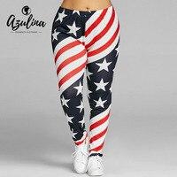 Azulina más tamaño alta cintura impresión de la bandera americana Leggings flacos ocasionales mujeres lápiz Pantalones 2018 moda señoras leggins